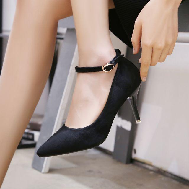 W 발목 얇아 보이는 스트랩 포인트 여성 패션 구두