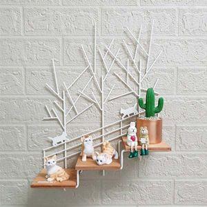빈티지 인테리어 고양이 3단 계단 장식선반(아이보리)