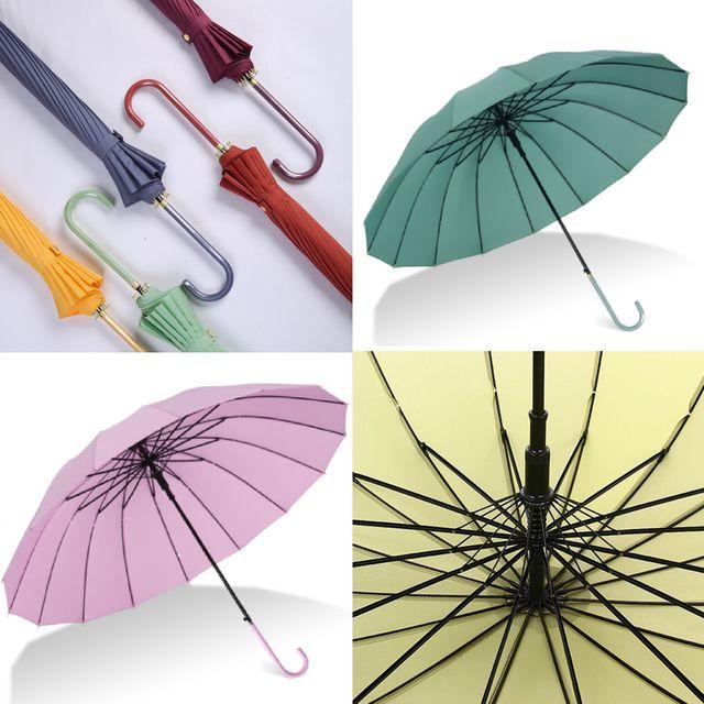 W 감성컬러 튼튼한 16K 장우산 롱핸들 방풍 자동 우산