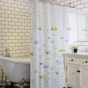 180x180 샤워커튼 욕실 인테리어 물고기 패턴