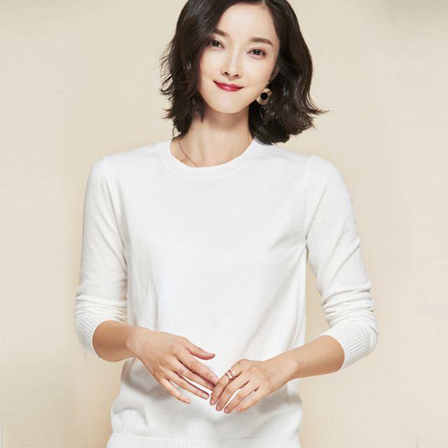 W 키밍 라운드 니트 라운드넥 긴팔 여성 스웨터 티셔츠