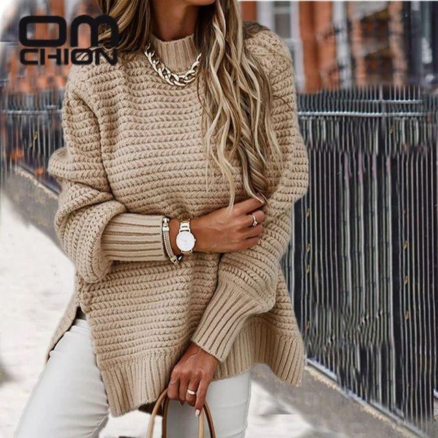 [해외] OMCHION Pull Femme 2021 겨울 하프 하이 넥 스플릿