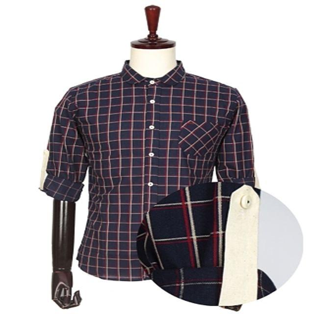 W 캐주얼 패치 포인트 소매롤업 체크 셔츠 남성의류