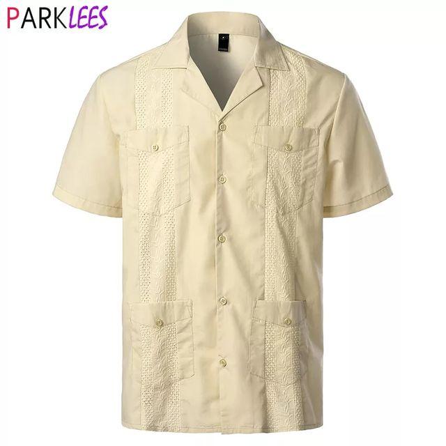 [해외] 남자의 전통적인 쿠바 캠프 칼라 Guayabera 셔츠 짧은
