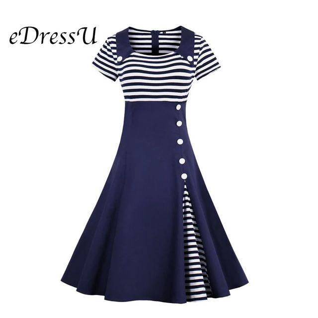 [해외] Edressu 플러스 사이즈 스트라이프 버튼 여름 드레스