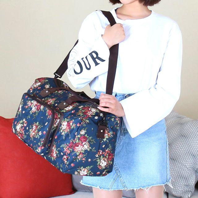 W 플라워 패턴 전면 포켓 휴가 여행 가방 여성 보스턴백