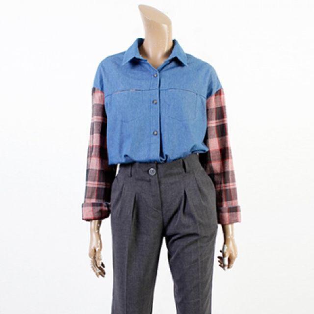 체크 배색 남방 여성 봄 가을 패션 셔츠