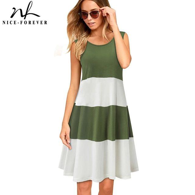 [해외] 니스-영원히 여름 대비 색 패치 워크 드레스 캐주얼