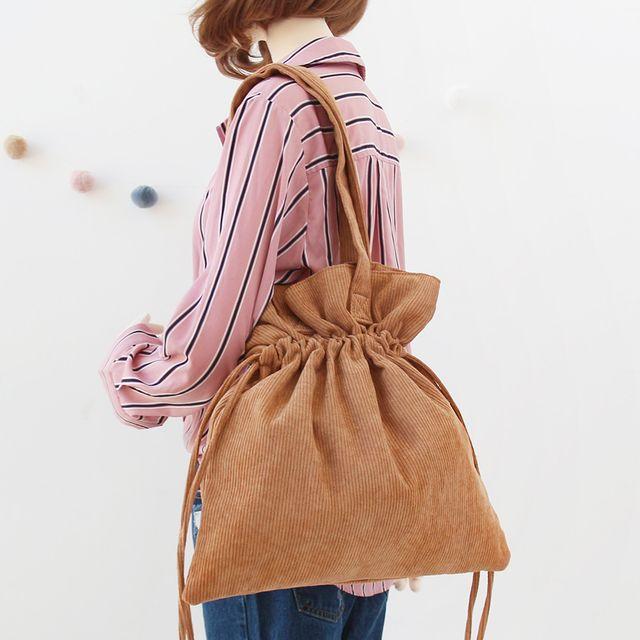 W 복주머니 스타일 코듀로이 여자 데일리 패션 가방