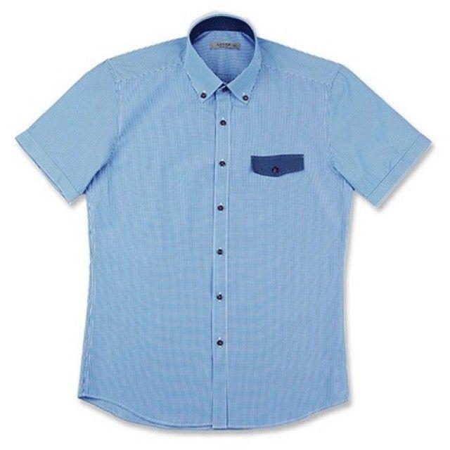 슬림 체크포인트 블루 파란색 배색 반팔 슬림셔츠
