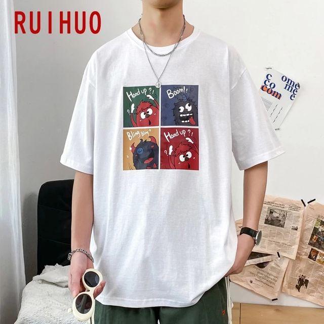 [해외] RUIHUO Preppy 스타일 반팔 남성 T-셔츠 패션 Streetw