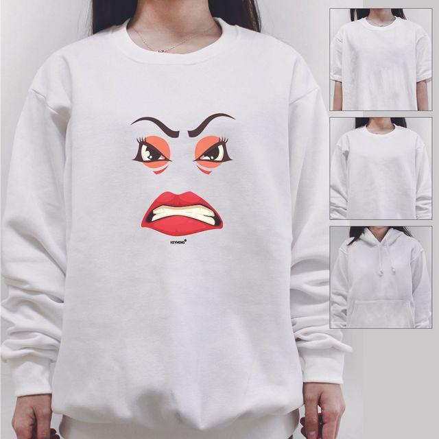 W 키밍 angry 여성 남성 티셔츠 후드 맨투맨 반팔티