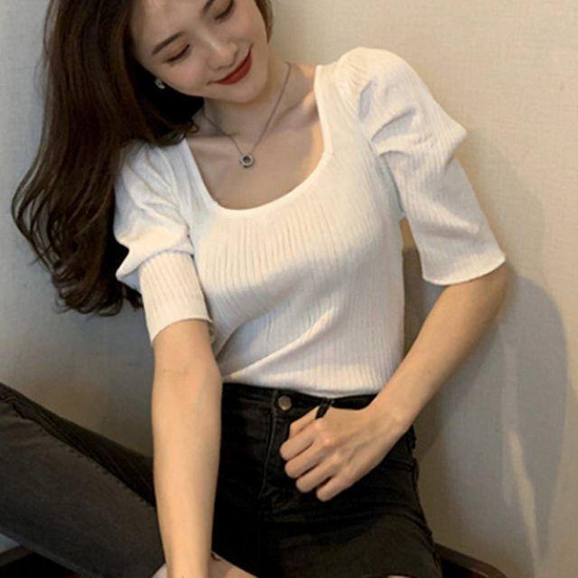 W 여자 여름 반팔티 스퀘어 넥 라인 골지 반팔 티셔츠