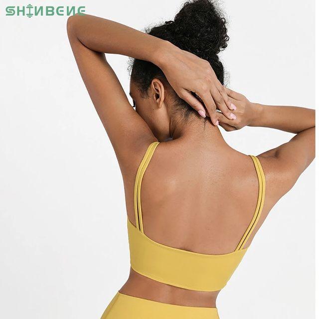 [해외] SHINBENE 더블 스트랩 운동 요가 스포츠 브라 탑 여성