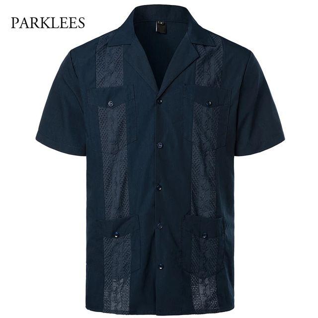[해외] 네이비 블루 쿠바 캠프 Guayabera 남성 셔츠 민족 자
