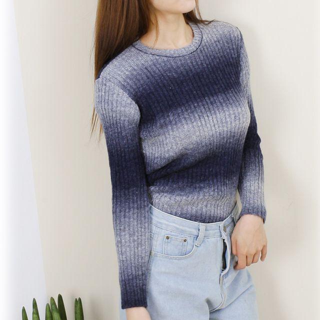 여자 그라데이션패턴 긴팔 니트 티셔츠 스웨터 데일리