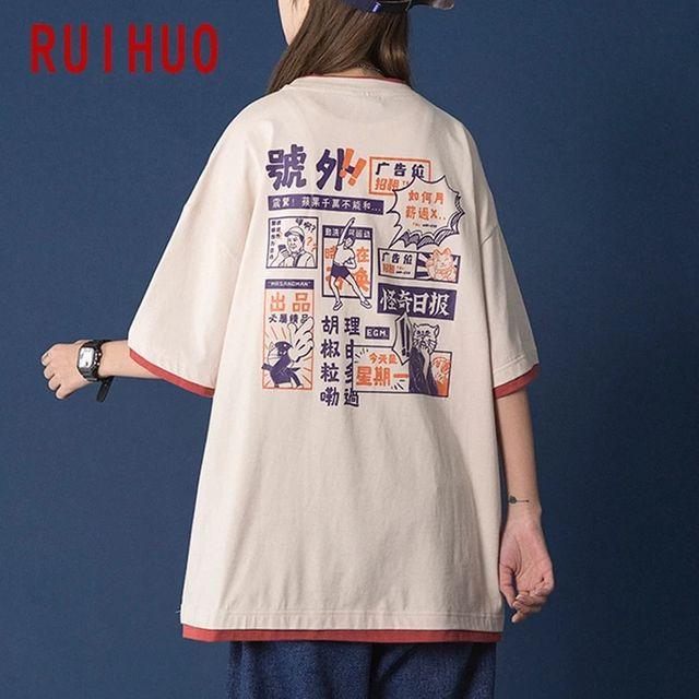 [해외] RUIHUO 일본 스타일 코튼 T 셔츠 남성 의류 티 셔츠