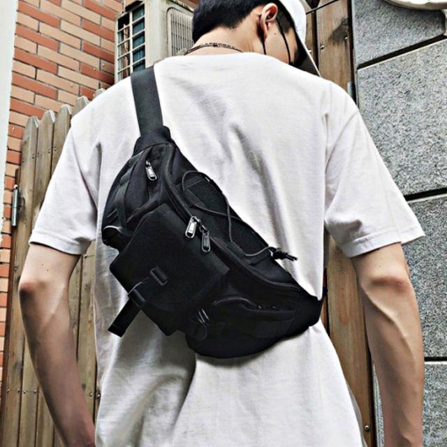 W 스트링 포켓 포인트 매신져백 공용 슬링백 패션가방