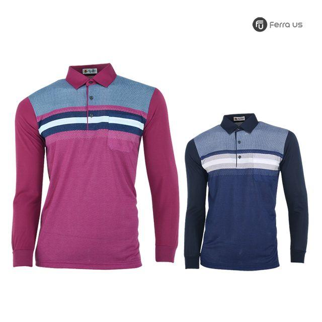 W TCC_페라어스 남성 골프 스판 도트배색 티셔츠 CTNE20