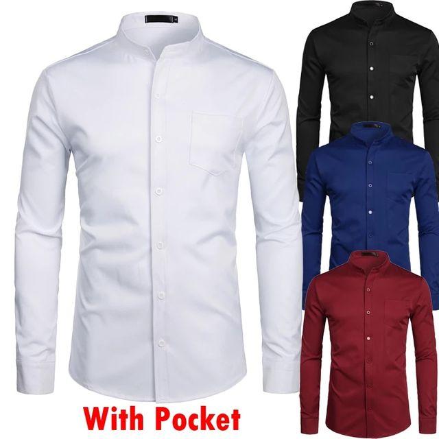 [해외] 스탠드 칼라 화이트 망 드레스 셔츠 싱글 포켓 슬림