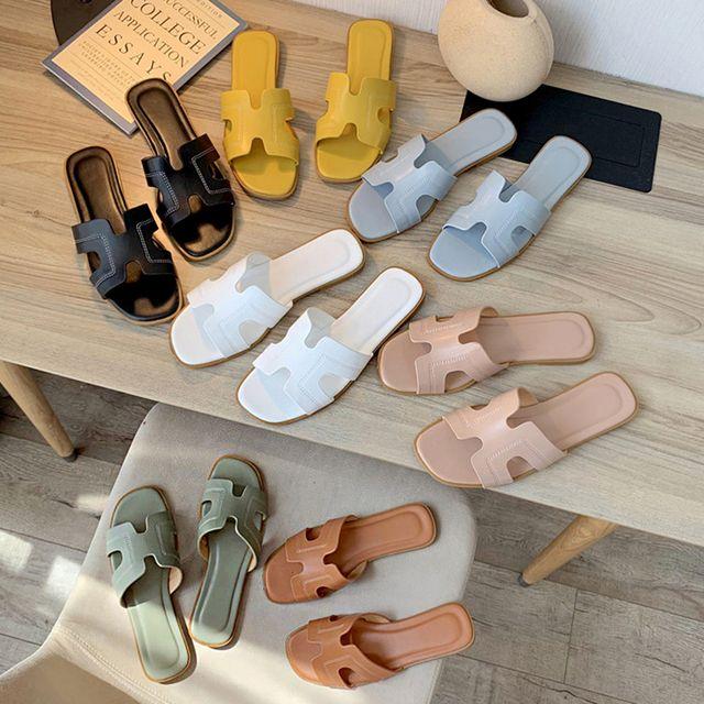 W 여성 여름 신발 바캉스 비치 플랫 슈즈 슬리퍼
