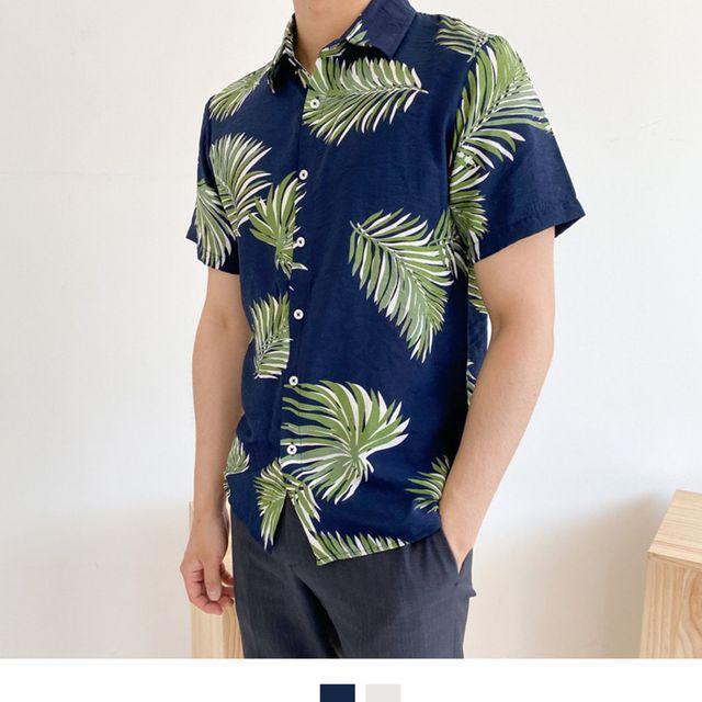 W 비치 패션 남성하프셔츠