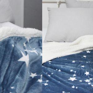 별패턴 극세사 블랑켓 담요 네이비 침실 거실 이블
