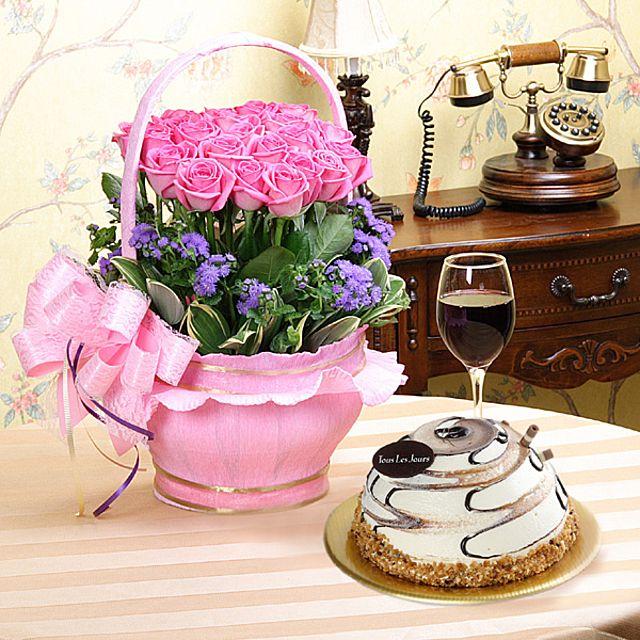 마지막사랑+케익-특급 3시간배송 전국 꽃배달 고백 결혼 기념일 감사선물 케익꽃배달