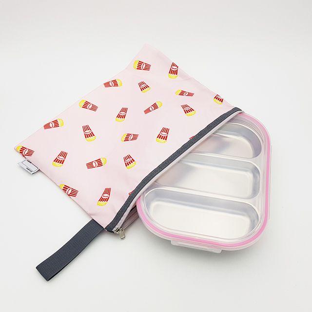 팝핑팝콘 3구 핑크 diet 어린이집 식판 도시락