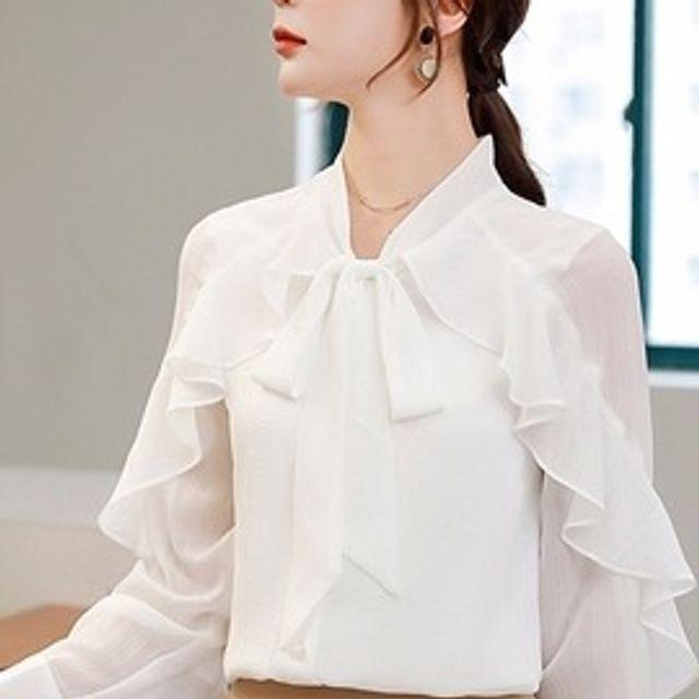 W 여성 시스루 블라우스 일자핏 리본타이 러플 셔츠
