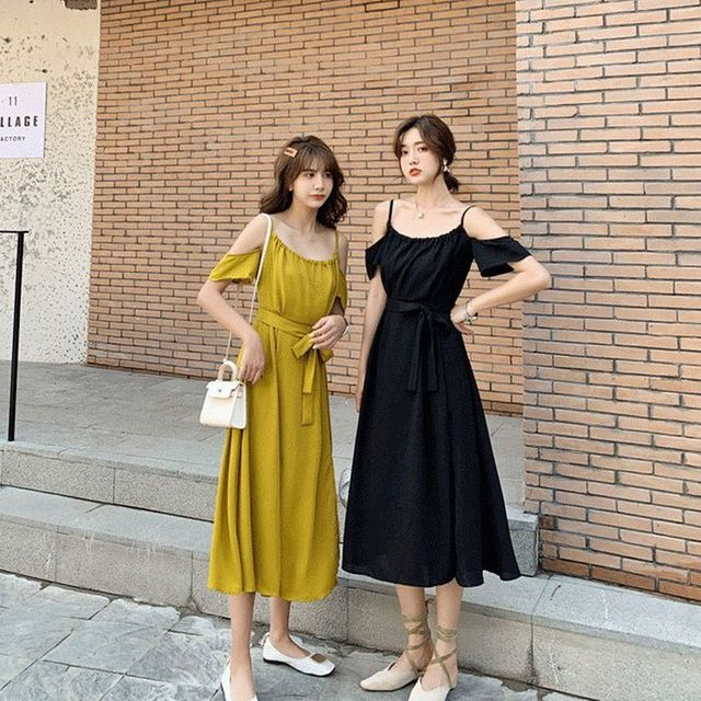 W 여성 여름 나시 민소매 오프숄더 어깨트임 원피스