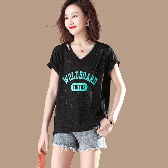 [해외] 여성 브이넥 프린트 루즈핏 반팔 티셔츠