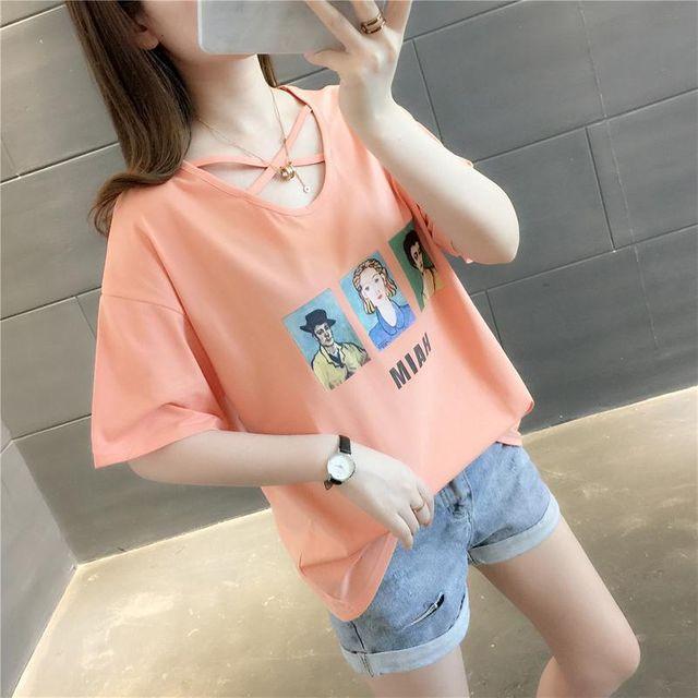 [해외] 여름 루즈핏 프린트 5부 소매 브이넥 티셔츠