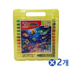 손잡이 가방형 케이스 크레파스 24색x2개 색칠 유아