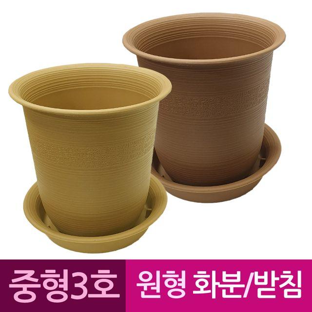W 웰빙 원형 플라스틱화분 화분받침 중형3호
