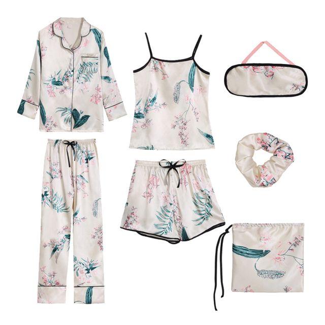 W 키밍 여자잠옷 실크 사계절 7종 파자마 잠옷 세트