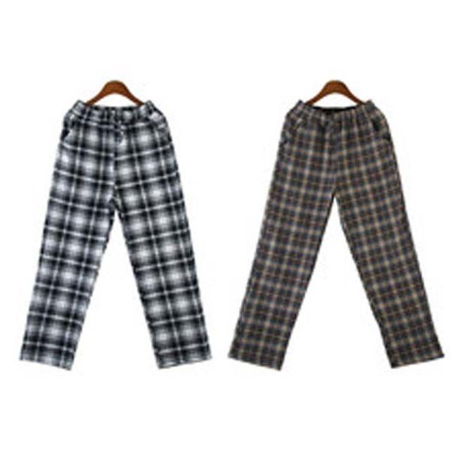 W 남성 패션 캐주얼 데일리 편한 체크 허리 밴딩 팬츠