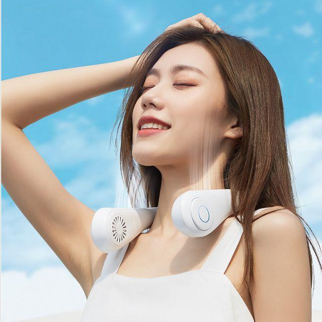 [해외] 넥밴드 목풍기 휴대용 넥 선풍기 360도 송풍