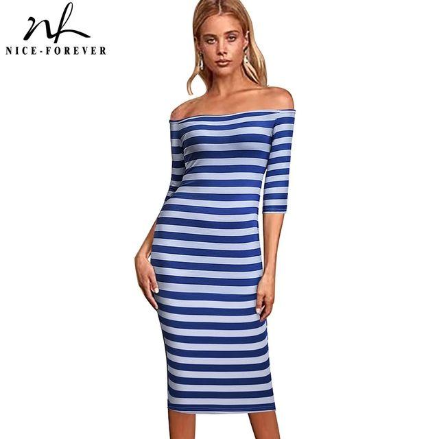 [해외] 니스-영원히 2021 여름 여성 패션 줄무늬 프린트 드레