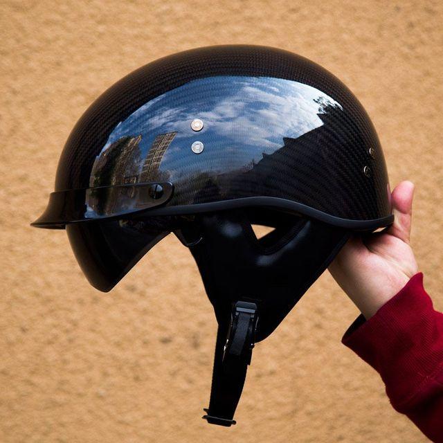 [해외] 오토바이 복고풍 헬멧 탄소 섬유 할리