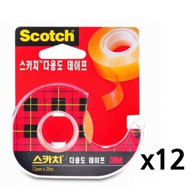 3M 테이프 다용도 스카치테이프1갑(12개) 12X20 [제작 대량 도매 로고 인쇄 레이저 마킹 각인 나염 실크 uv 포장 공장 문의는 네이뽕]