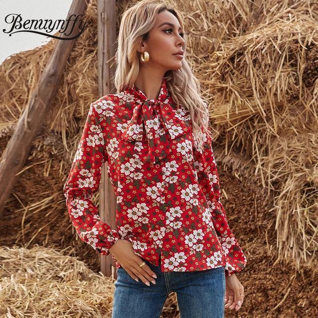 [해외] Benuynffy 나비 넥타이 꽃 무늬 프린트 버튼 업 셔츠