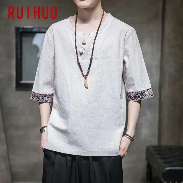 [해외] RUIHUO 리넨 빈티지 T 셔츠 남성 의류 일본 Streetwea
