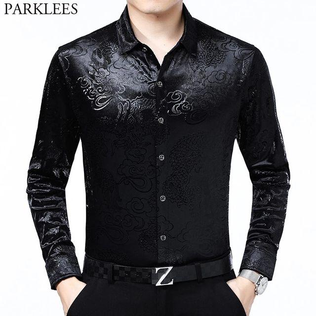 [해외] 럭셔리 중국어 드래곤 자 수 벨벳 셔츠 남자 슬림 맞