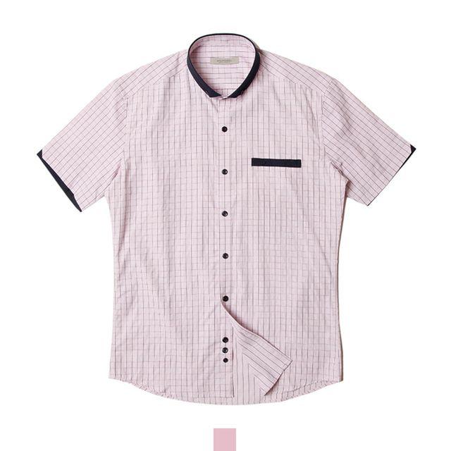 체크 와이드카라 핑크 반팔셔츠