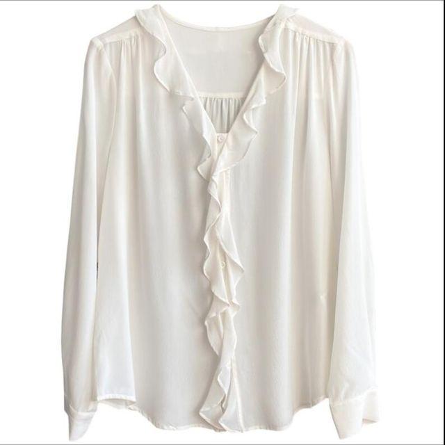 [해외] 여성 v넥 여름 실크 블라우스 프릴장식 셔츠
