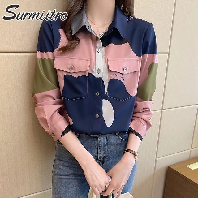 [해외] SURMIITRO 색상 대비 셔츠 여성 2021 봄 가을 긴 소매