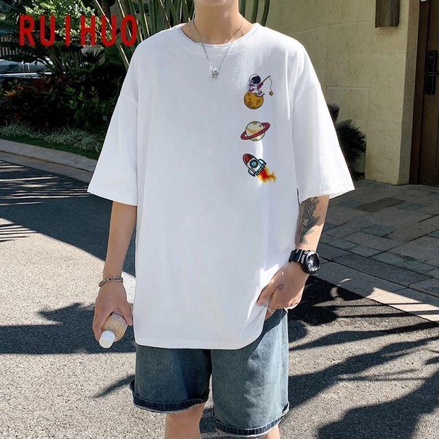 [해외] RUIHUO 만화 캐주얼 T 셔츠 남성 의류 화이트 T 셔츠