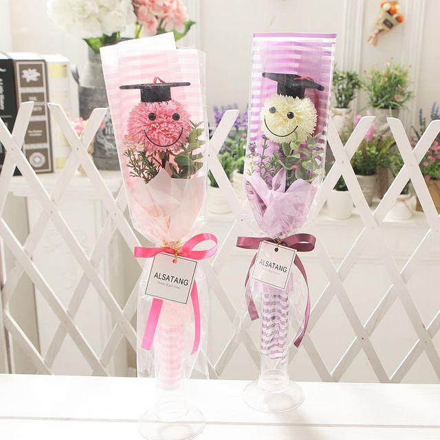 스마일학사모 꽃다발(핑크) 비누꽃 졸업식 재롱잔치