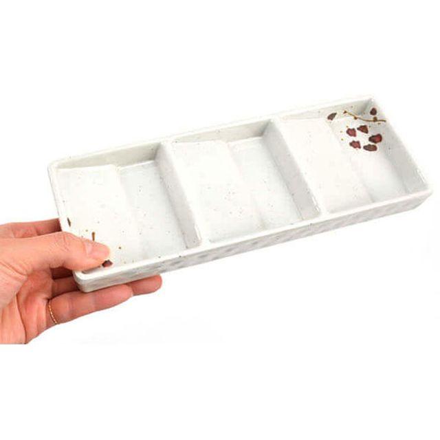 빗각 3칸 초장 양념 종지그릇 [제작 대량 도매 로고 인쇄 레이저 마킹 각인 나염 실크 uv 포장 공장 문의는 네이뽕]